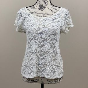 Mossimo Lace Button Up Blouse Size XS